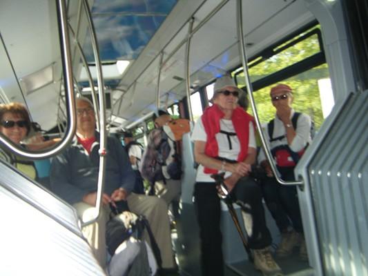 le bus pour retourner aux voitures